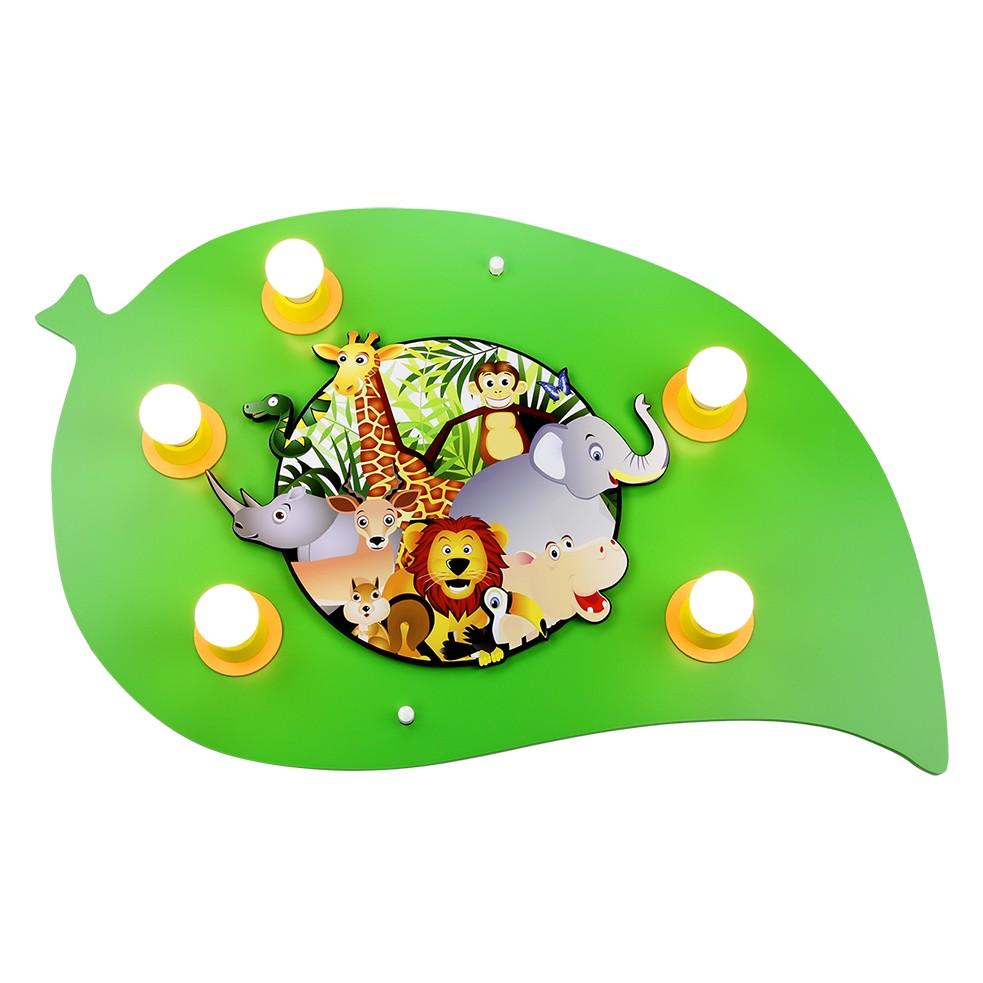 energie  A++_ Plafondlamp Jungle   hout 5 lichtbronnen_ Elobra
