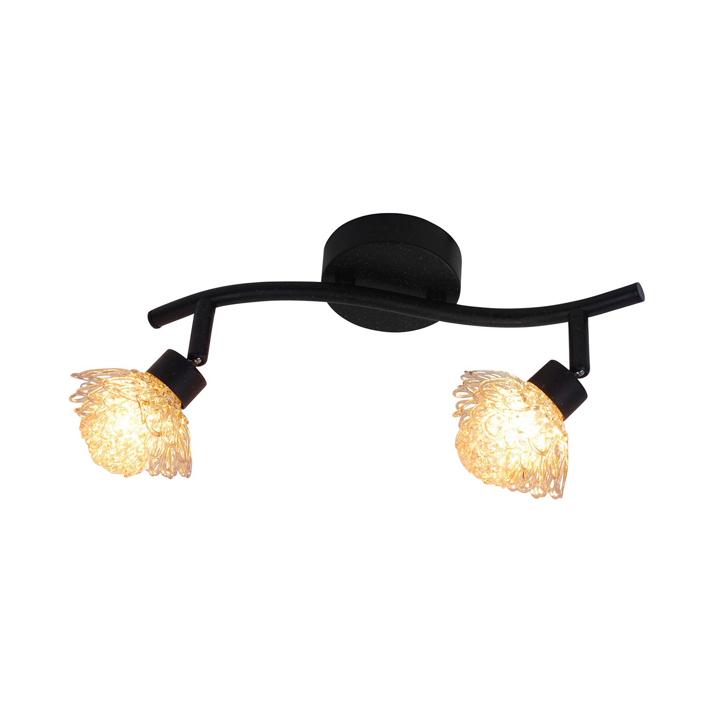 energie  C, Plafondlamp Firenze - metaal/glas bruin 2 lichtbronnen, Näve