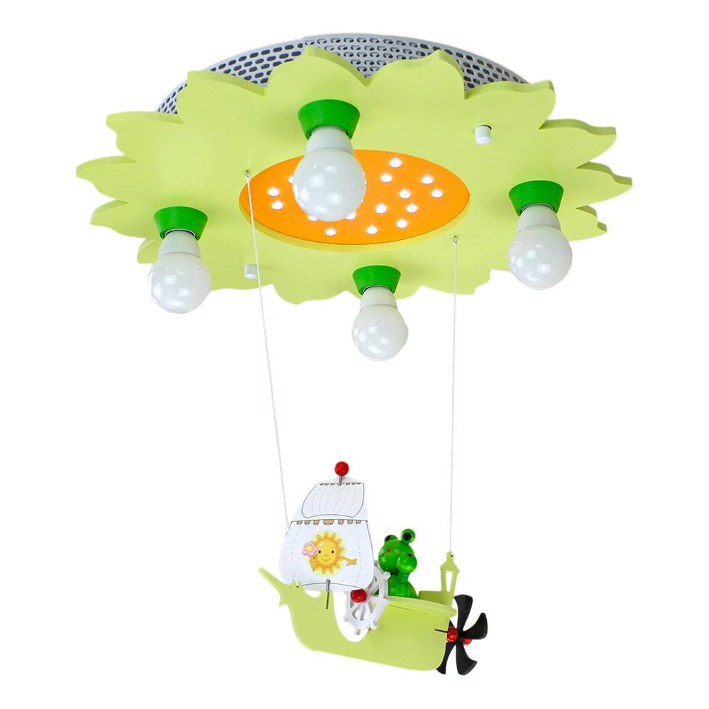 energie  A+_ Plafondlamp Kikker met zeilschip 4 20   hout 4 lichtbronnen_ Elobra