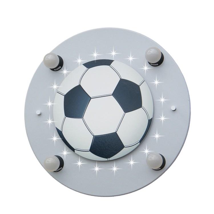 energie  A+_ Plafondlamp Voetbal 4 20   hout 4 lichtbronnen_ Elobra