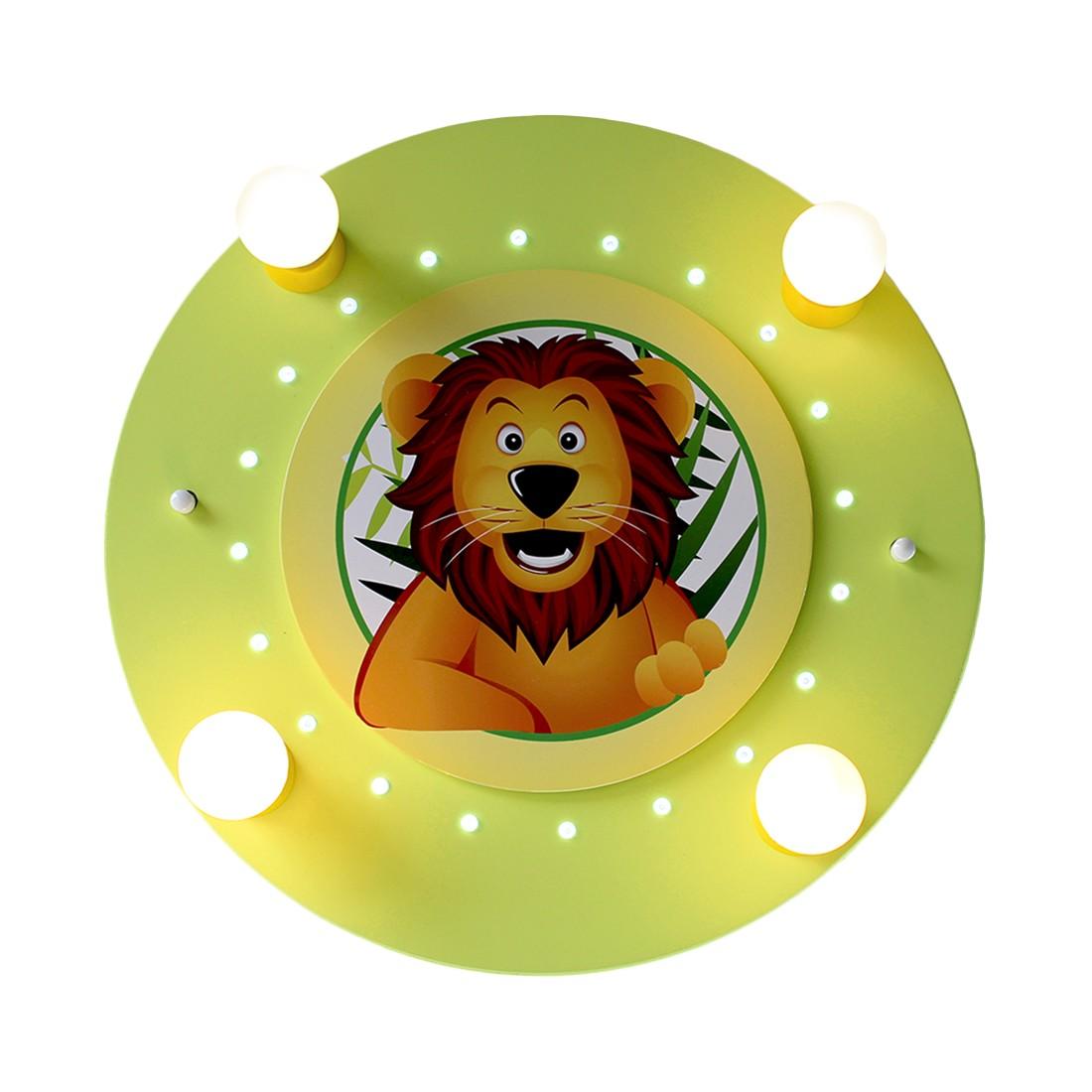 energie  A+_ Plafondlamp Leeuw 4 20   hout 4 lichtbronnen_ Elobra