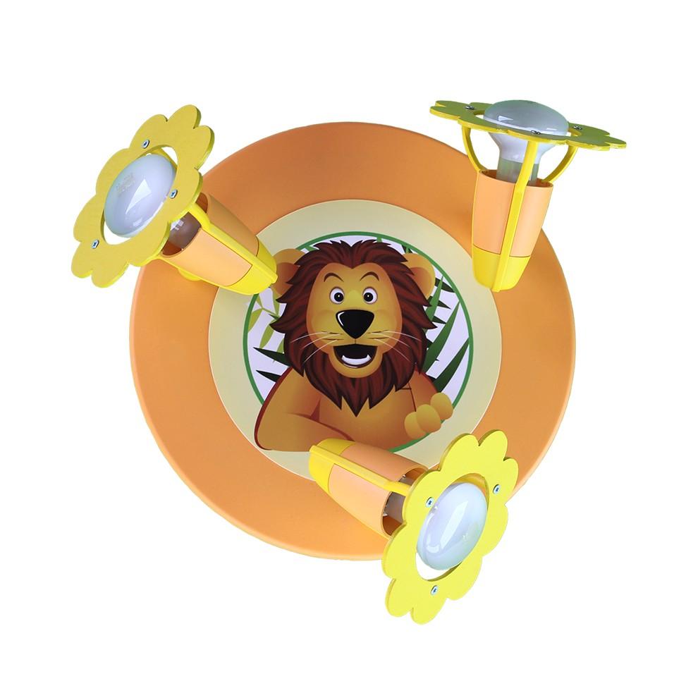energie  A++_ Plafondlamp Leeuw   hout 3 lichtbronnen_ Elobra