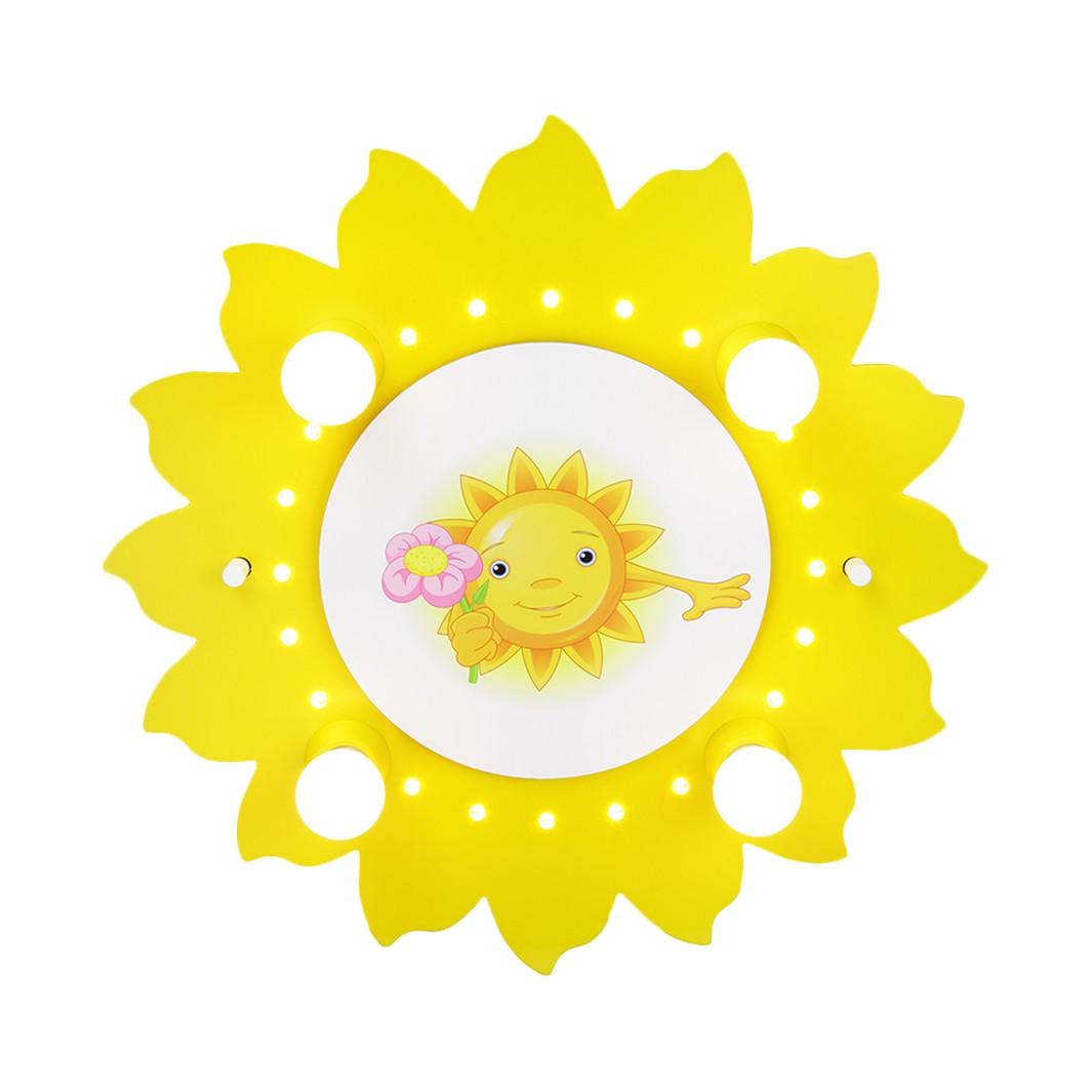 energie  A+_ Plafondlamp Motief zon met bloem 4 20   hout 4 lichtbronnen_ Elobra