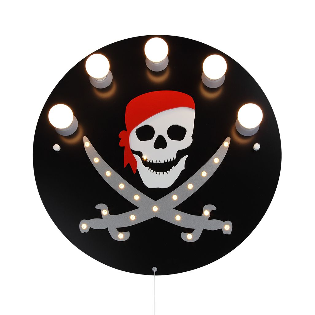 energie  A+_ Plafondlamp Piraat 5 20   hout 5 lichtbronnen_ Elobra
