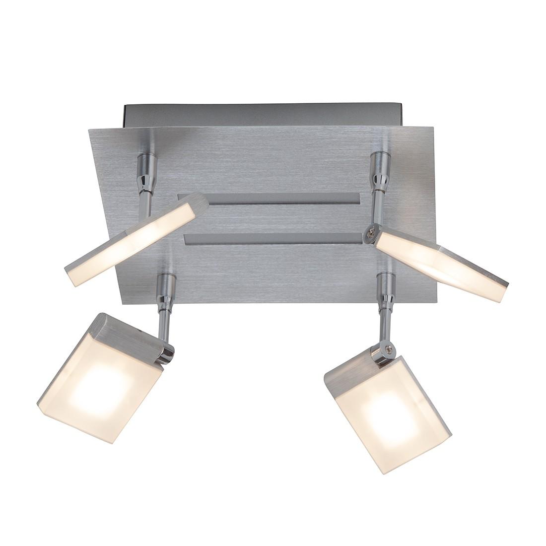 energie  A+, Plafondlamp Plaxico - metaal/zilverkleurig kunststof 4 lichtbronnen, Brilliant
