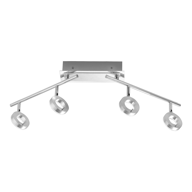energie  A+, LED-plafondlamp Sileda IV - ijzer - 4 lichtbronnen - Aluminiumkleurig, Paul Neuhaus