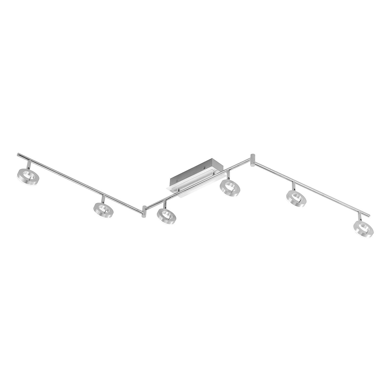 energie  A+, LED-plafondlamp Sileda V - ijzer - 6 lichtbronnen - Aluminiumkleurig, Paul Neuhaus