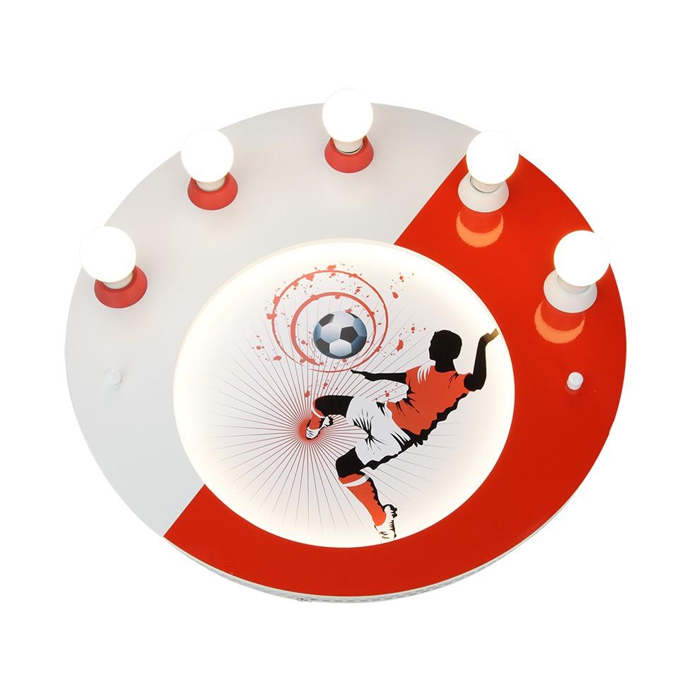 Home 24 - Eek a+, plafonnier soccer 5 / 54 - bois ampoules - rouge / blanc, elobra