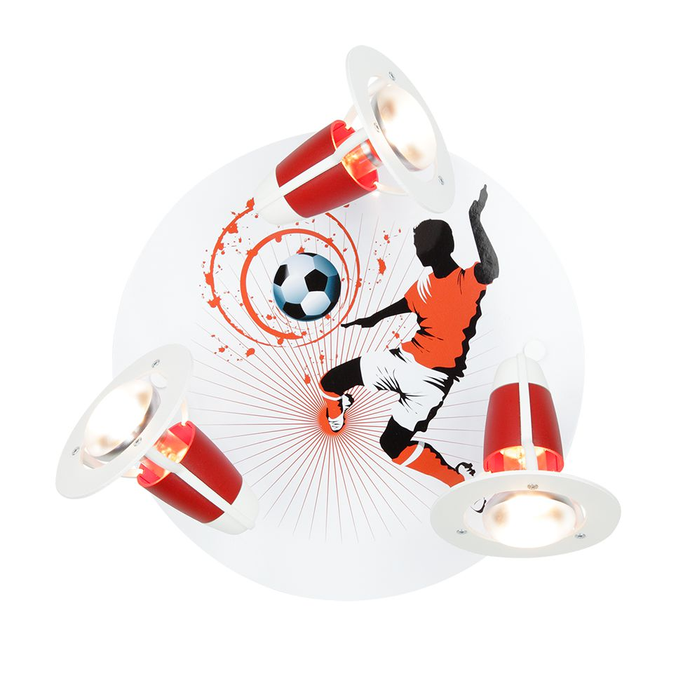 Home 24 - Eek a++, plafonnier football - bois 3 ampoules, elobra