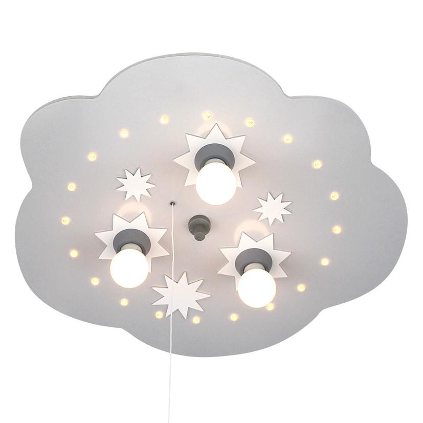 energie  A++_ Plafondlamp Ster wolk 3 20   hout 3 lichtbronnen_ Elobra