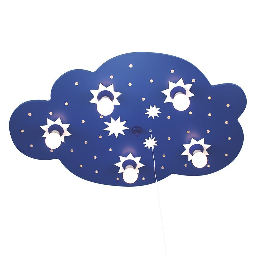 energie  A++_ Plafondlamp Ster wolk 5 40   hout 5 lichtbronnen_ Elobra