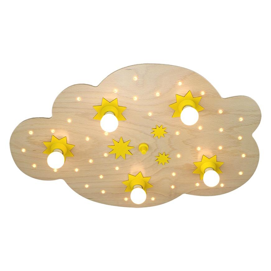 energie  A+_ Plafondlamp Ster wolk 5 40   hout 5 lichtbronnen_ Elobra
