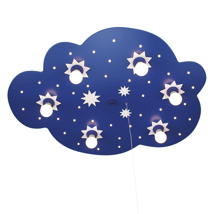 Home 24 - Eek a+, plafonnier nuage d étoiles 6 / 40 - bois ampoules, elobra