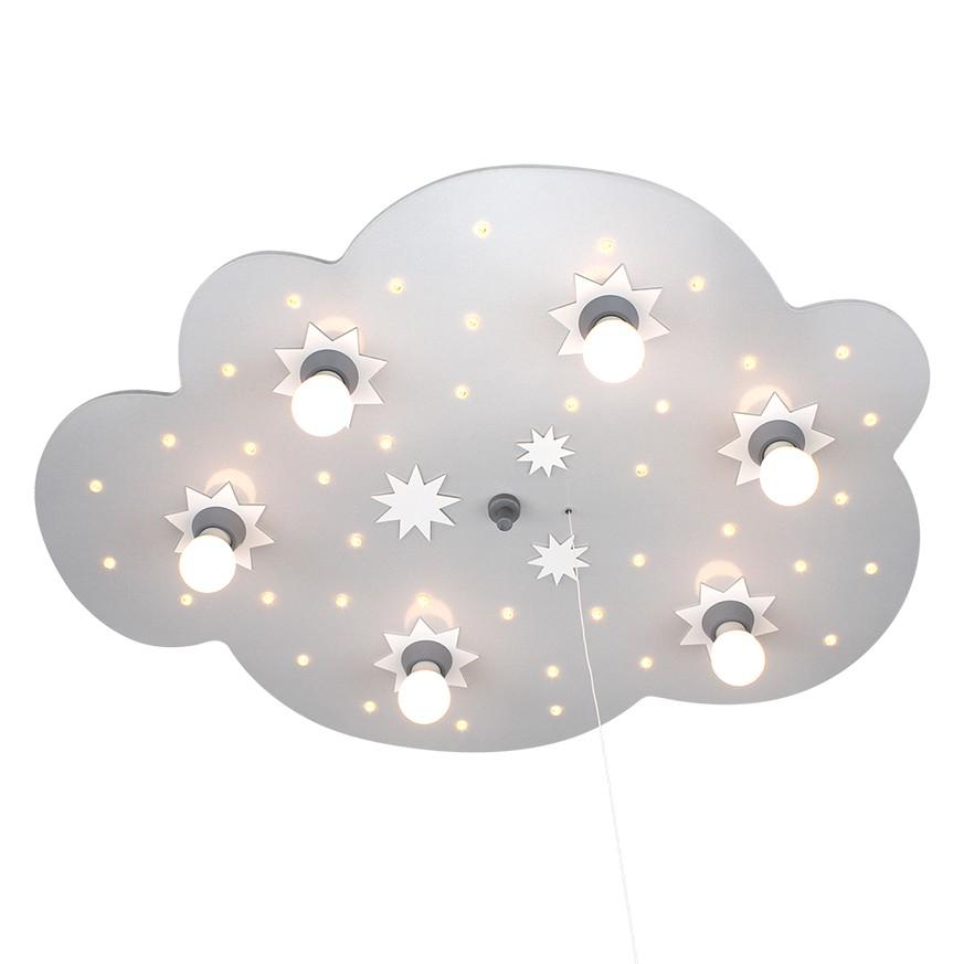 energie  A+_ Plafondlamp Ster wolk 6 40   hout 6 lichtbronnen_ Elobra