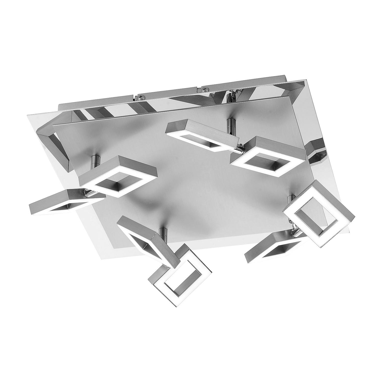 energie  A+, Plafondlamp Twins - ijzer zilverkleurig 8 lichtbronnen, Paul Neuhaus