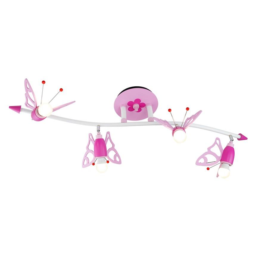 energie  A++_ Plafondlamp Golf van vlinders   hout 4 lichtbronnen_ Elobra
