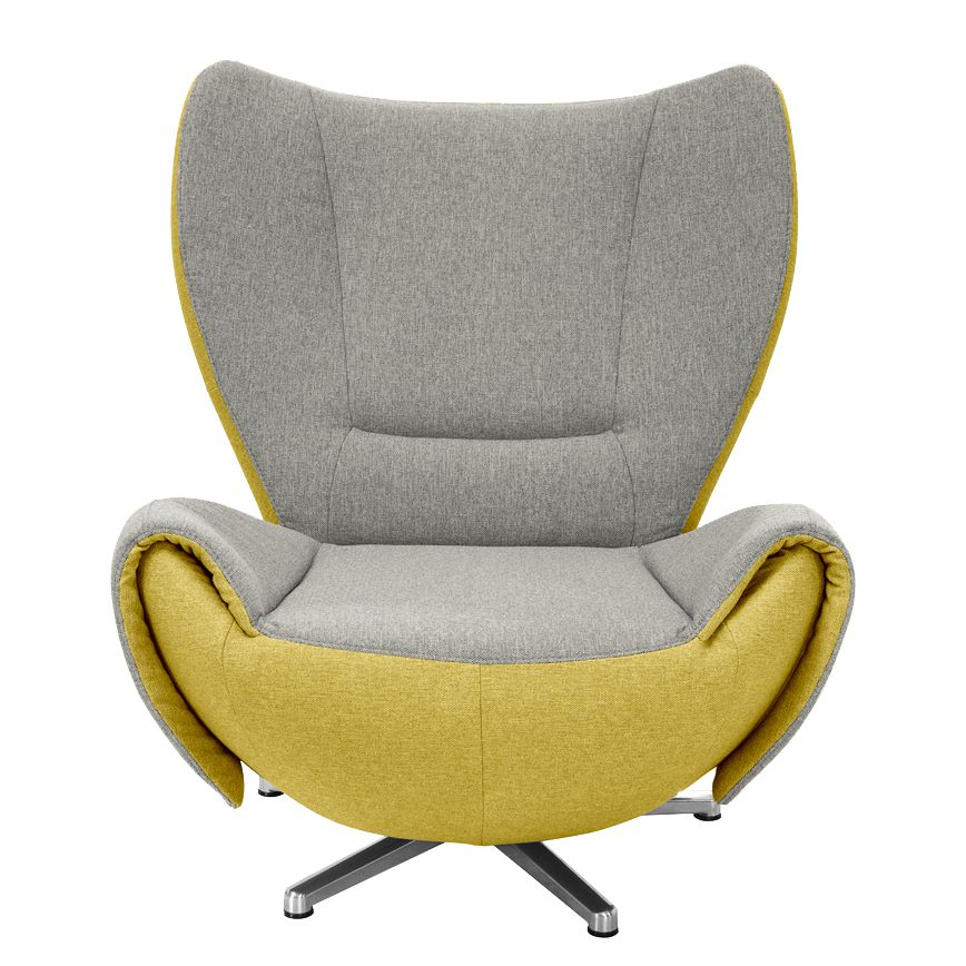 Fauteuil design Tom - Tissu jaune moutarde / Gris marron - Grey / Jaune moutarde, Tom Tailor