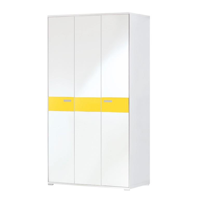 Armoire de vestibule Bolton II - Blanc / Jaune soleil, Voss