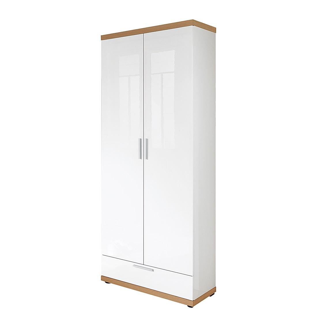 Armoire de vestibule Ellison - Blanc brillant / Chêne sauvage brut de sciage, Voss