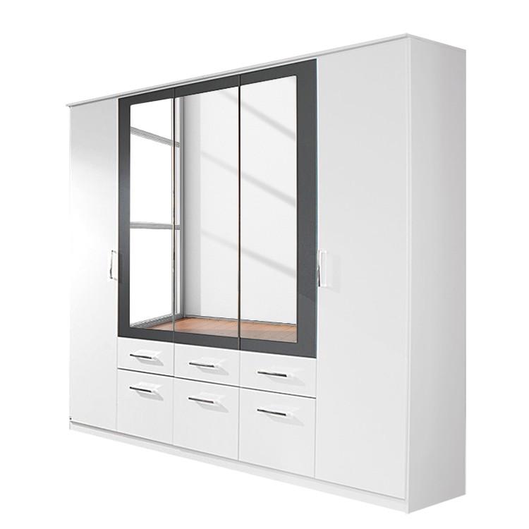 Armoire à portes battantes Burano - Blanc alpin / Gris métallisé - 271 cm - 6 portes - 2 miroirs - 4