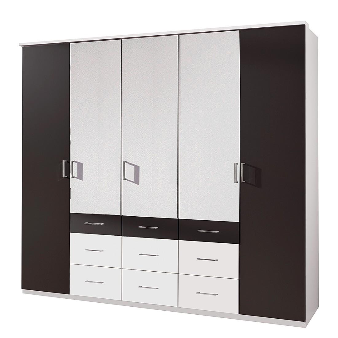 Armoire à portes battantes Alma - Blanc alpin / Lava - Largeur d'armoire : 225 cm - 5 portes, Wimex