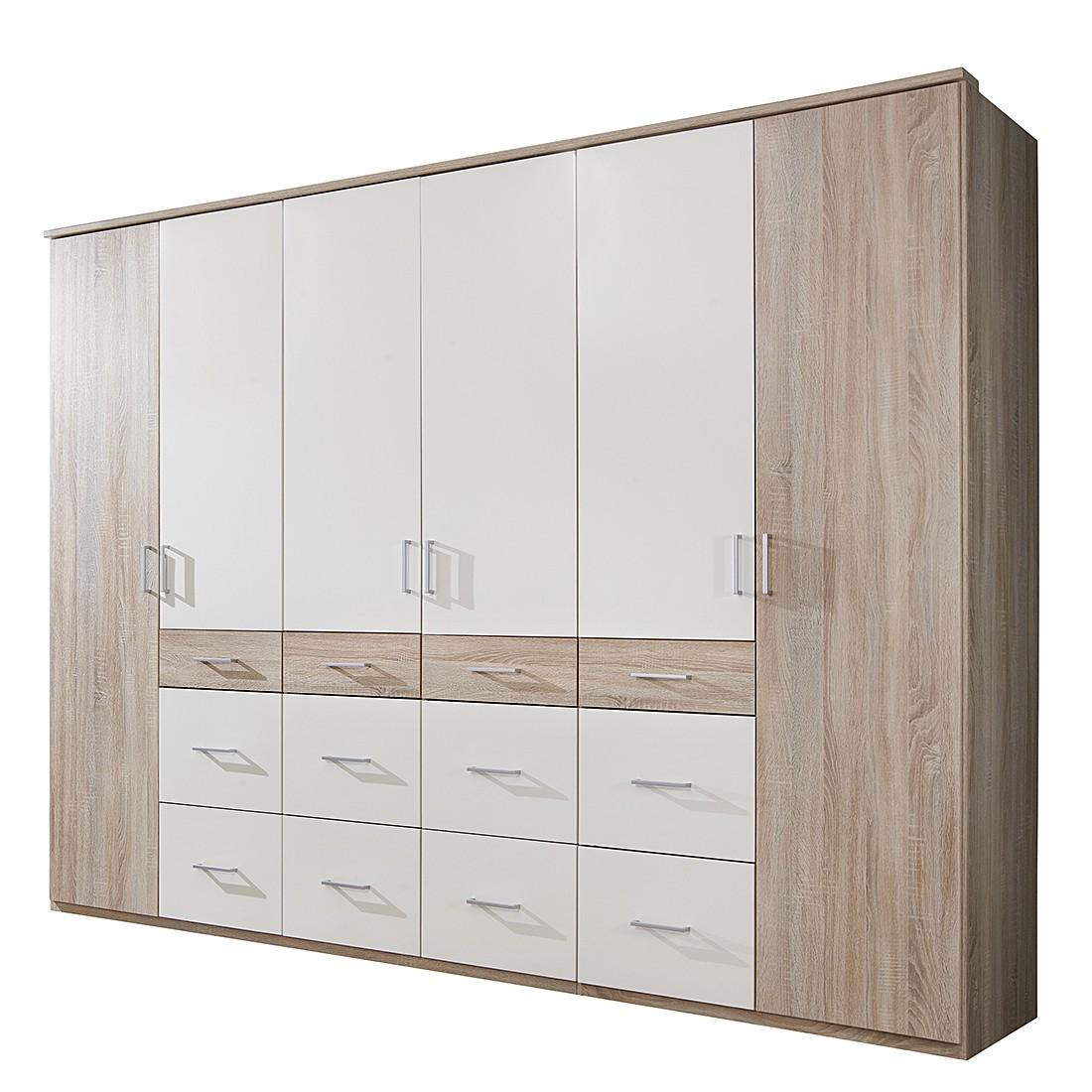 Armoire à portes battantes Alma - Imitation chêne brut de sciage / blanc alpin - Largeur d'armoire :