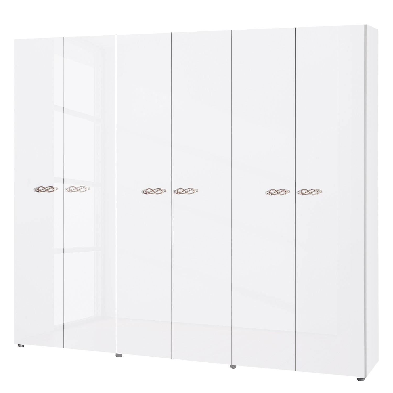 Armoire à portes battantes Ambrosia - Blanc brillant - 237 cm (6 portes) - 214 cm - Sans portes miro