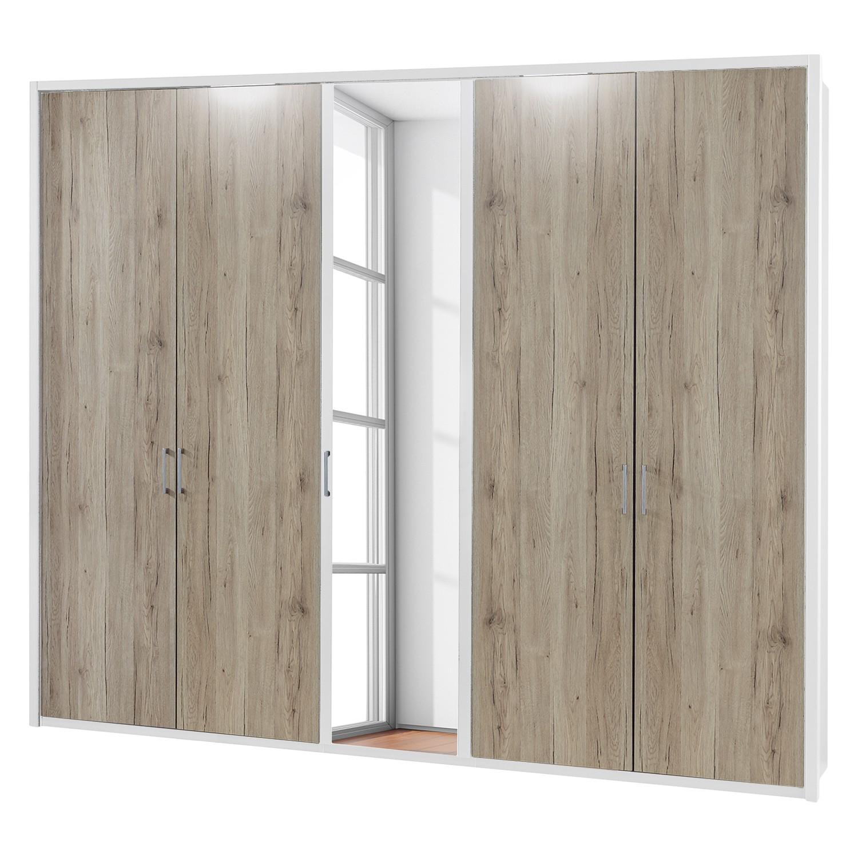 energie  A+, Draaideurkast Arizona Sleep - Alpinewit/santana eikenhouten look - 250cm (5-deurs) - 1 spiegeldeur - Met verlichte Passe-partout lijst, Wiemann