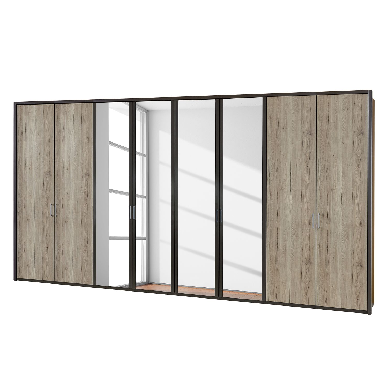 Draaideurkast Arizona Sleep - Havanna/santana eikenhouten look - 400cm (8-deurs) - 4 spiegeldeuren - Met Passe-partout lijst, Wiemann