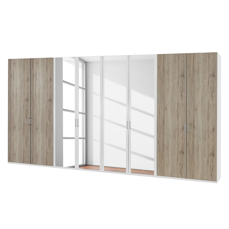 Draaideurkast Arizona Sleep - Alpinewit/santana eikenhouten look - 400cm (8-deurs) - 4 spiegeldeuren - Zonder Passe-partout lijst, Wiemann