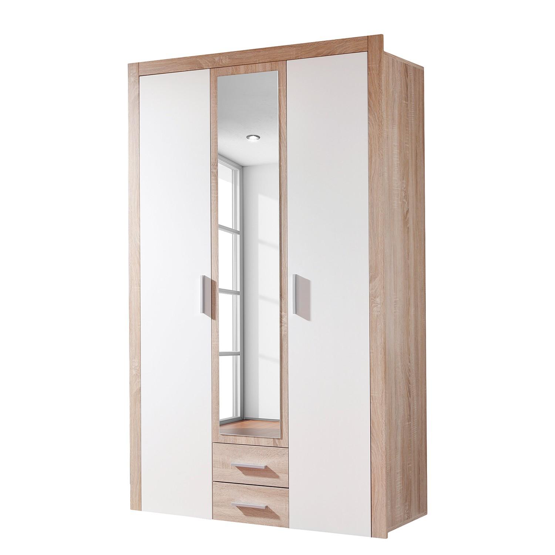 Armoire à portes battantes Axel - Imitation chêne de Sonoma / Blanc - 121 cm (3 portes), mooved