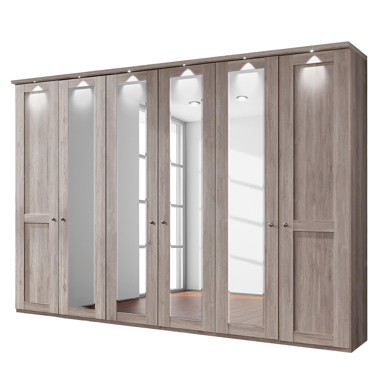 energie  A+, Draaideurkast Bergamo - LED-verlichting - Truffeleikenhouten look - 300cm (6-deurs) - 4 spiegeldeuren - Met kroonlijst, Wiemann