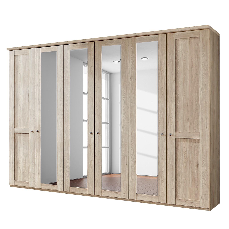 Draaideurkast Bergamo - Zonder verlichting - Grof gezaagd eikenhouten look - 300cm (6-deurs) - 4 spiegeldeuren - Met kroonlijst, Wiemann