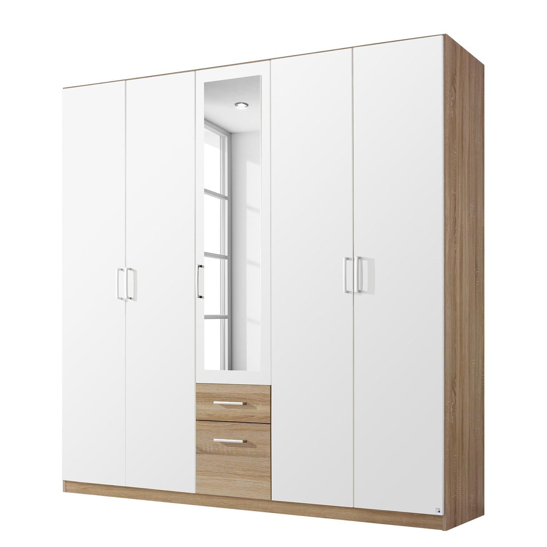 Armoire à portes battantes Bingen - Imitation chêne de Riviera - 226 cm (5 portes) - 1 porte avec mi