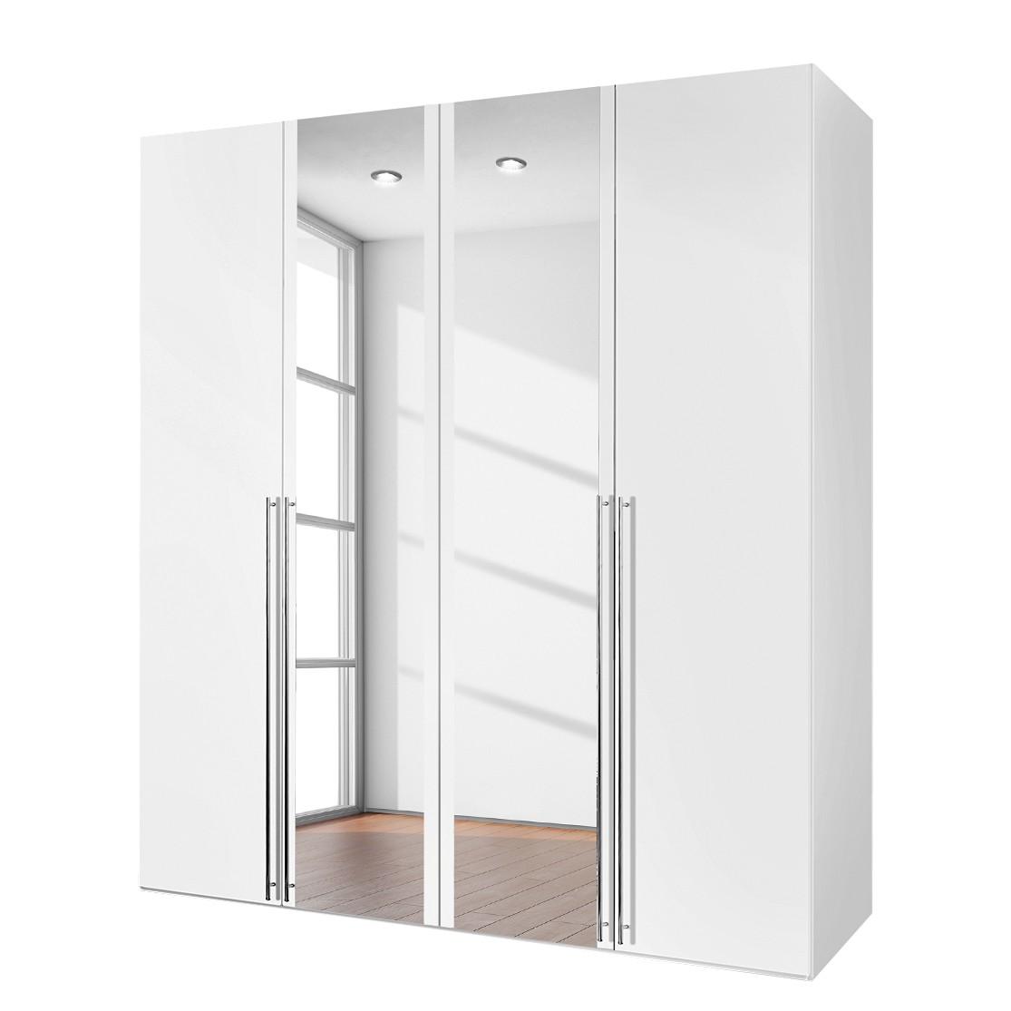 Armoire à portes battantes Brooklyn XIII - Blanc alpin / Verre de miroir - 200 cm (4 portes) - 236 c