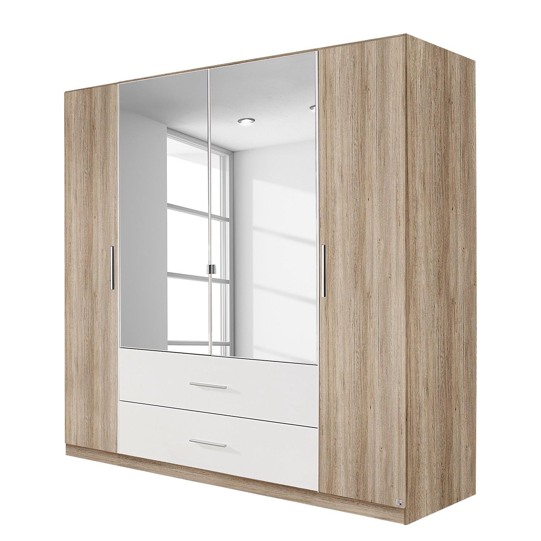 Armoire à portes battantes Bustas - Imitation chêne de San Remo clair / Blanc alpin - 181 cm (4 port
