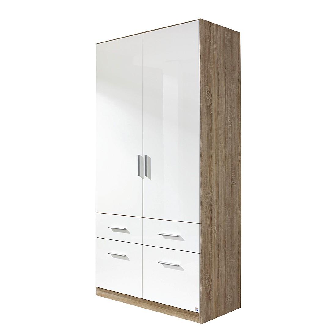Armoire à portes battantes Celle - Blanc brillant / Imitation chêne de Sonoma 2, Rauch Packs