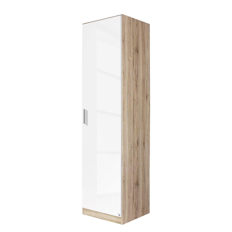 Armoire à portes battantes Celle - Imitation chêne de Sonoma / Blanc brillant - 47 cm (1 portes), Ra
