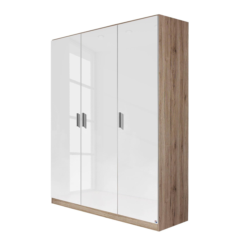 Draaideurkast Celle - Hoogglans wit/Lichte San Remo eikenhouten look - 136cm (3-deurs), Rauch Packs