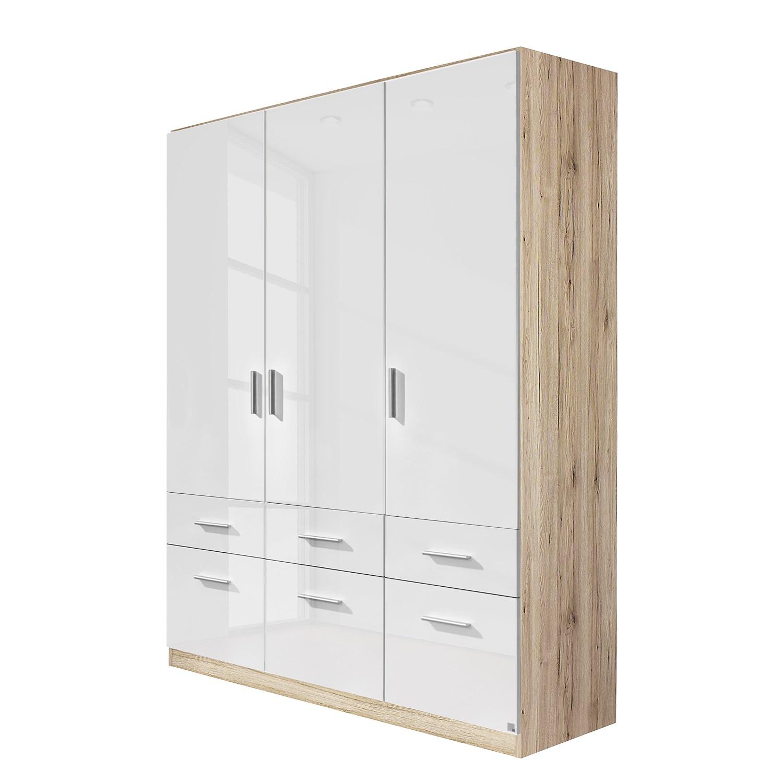Draaideurkast Celle I - Sonoma eikenhouten look/hoogglans wit - 136cm (3-deurs), Rauch Packs