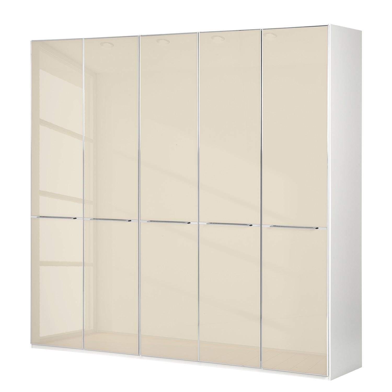 Draaideurkast Chicago I - Alpinewit/magnoliakleurig glas - 250cm (5-deurs) - 216cm, Althoff