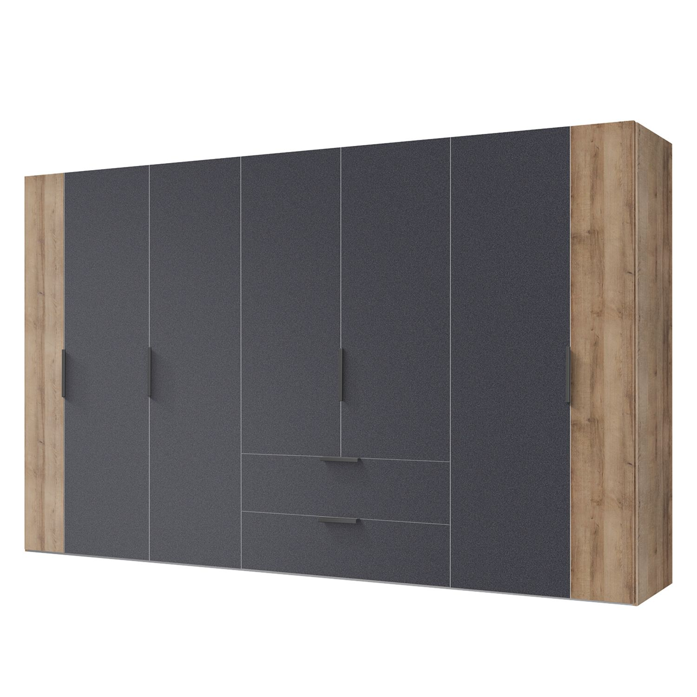 Armoire à portes battantes Chicago - Imitation chêne parqueté / Graphite - 300 cm (7 portes), Expres