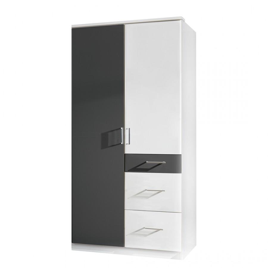Armoire à portes pivotantes Julan I - Blanc alpin / Anthracite - Sans portes miroir, Oaklands