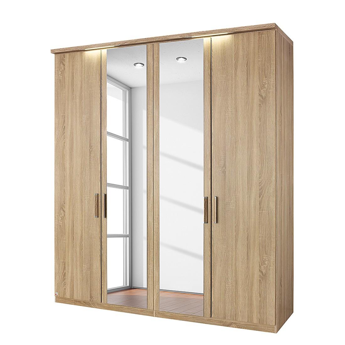 EEK A+, Armoire à portes battantes Evelyn I - Imitation chêne de Sonoma - Avec éclairage - 151 cm (3