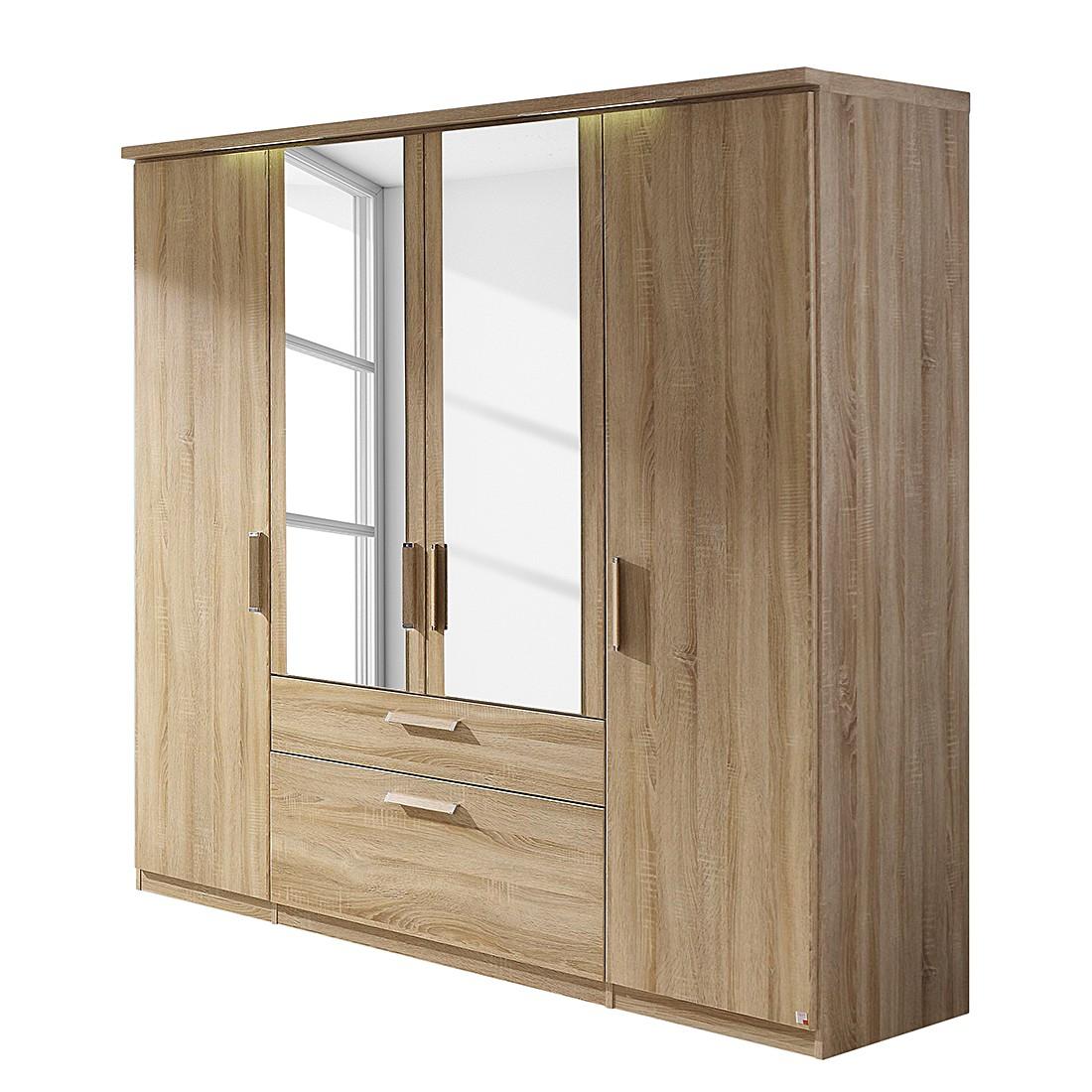 EEK A+, Armoire à portes battantes Evelyn II - Imitation chêne de Sonoma - Avec éclairage - 151 cm (