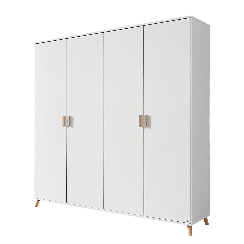 Armoire à portes battantes Falun - Blanc alpin / Frêne de Coimbra - 181 cm (4 portes) - Sans portes