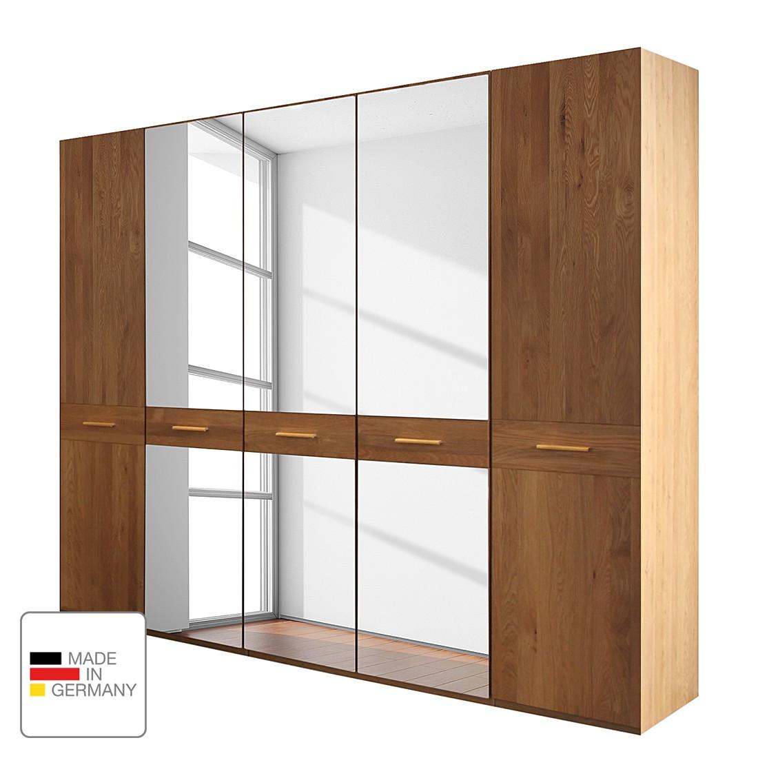 Draaideurkast Faro - gelakt deels massief eikenhout - 250cm (5-deurs) - 1 spiegeldeur - Zonder Passe-partout lijst, Wiemann