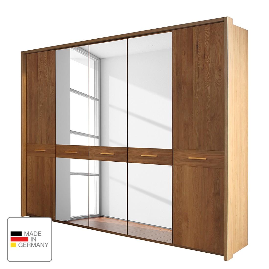 Draaideurkast Faro - gelakt deels massief eikenhout - 300cm (6-deurs) - 2 spiegeldeuren - Met Passe-partout lijst, Wiemann