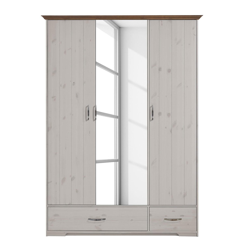 Armoire à portes battantes Hanstholm - Pin verni blanc - 208 cm, Steens