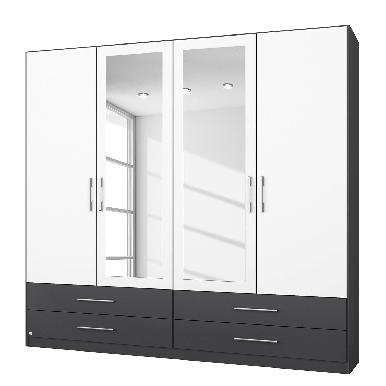 Home 24 - Armoire à portes battantes hersbruck-extra - blanc / gris métalisé - 181 cm (4 portes) - 2 portes avec miroir, rauch packs